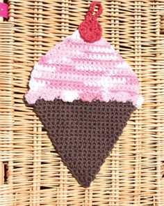 Lily Sugar n Cream - Ice Cream Dishcloth, free pattern to crochet.