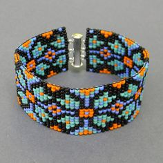 Colorful beaded bracelet  beadwoven cuff  black / by Anabel27shop,