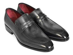 """Paul Parkman Gray & Black Men's Loafers For Men (ID#068-GRAY) Gray & Black patina hand-painted upper. Finest Italian calfskin leather. Antique finished leather sole. Loafer (slip-on) shoes for men. <a href=""""https://www.flauntitculture.com/paul-parkman-gray-black-mens-loafers-for-men-id-068-gray-3"""">5% OFF - BUY NOW!</a>"""