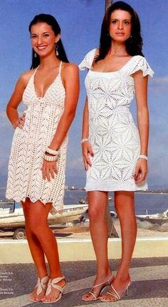 2 White Summer Dresses free crochet graph pattern