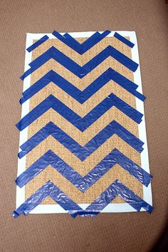 How to make a chevron door mat. Great idea! I can't seem to find any door mats I like so I could just decorate my own with my own colors! yay.