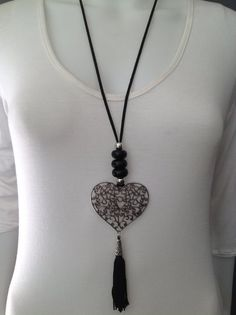 Afrigal Designs - Afrigal Designs Filligree heart and tassel necklace – black, silver by Afrigal Designs Mommy Jewelry, Rope Jewelry, Beaded Jewelry, Heart Jewelry, Jewellery, Beaded Choker Necklace, Leather Necklace, Diy Necklace, Leather Jewelry