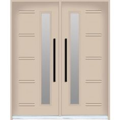Double front door from Design Collection - Linea Model with paneled decorative glass inserts Double Front Doors, Modern Front Door, Touch Up Paint, Decorative Glass, Entrance Doors, Painted Doors, New Model, Custom Paint, Contemporary Style