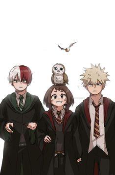 Shoto Todoroki, Ochaco Uraraka,  Katsuki Bakugo trong trang phục của Harry Potter
