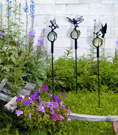 Wrought Iron Hummingbird Marble Garden Stake - Outdoor Decor