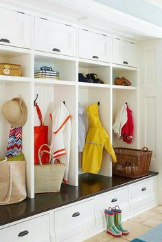 This would be one of my all time favorite mudrooms.  Since my children are grown, I doubt I would need one like this in any future home, but it's fun to dream!