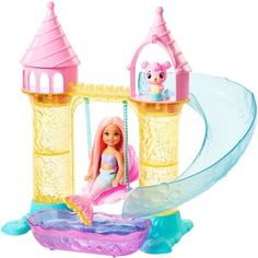Superb Barbie Chelsea Mermaid Playground Playset Now at Smyths Toys UK. Shop for Barbie At Great Prices. Doll Clothes Barbie, Mattel Barbie, Barbie Ballet, Barbie Chelsea Doll, Mermaid Toys, Barbie Mermaid Doll, Club Chelsea, Swing And Slide, Toys Uk