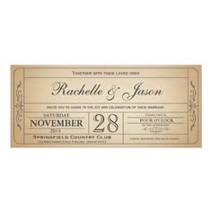 Shop Vintage Wedding Ticket Invitation with RSVP II created by Trifecta_Designs. Personalize it with photos & text or purchase as is! Monogram Wedding Invitations, Vintage Wedding Invitations, Wedding Invitation Templates, Custom Invitations, Party Invitations, Wedding Stationary, Prom Invites, Invitations Online, Ticket Invitation