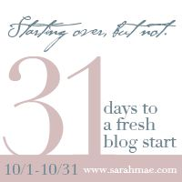 31 Days to a Fresh Blog Start - {Starting Over, but Not} - a great series from Sarah Mae