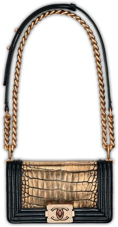 Chanel Boy Bag Collection SS12 Crocodile Gold Chain