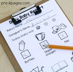 Printable Daily Baby Report for Pretend Play in Preschool