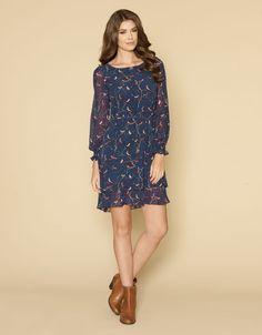 Billie Bird Print Dress | Navy | Monsoon