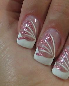 wedding nails design - bridal nails designs - wedding nails decoration - nails designs for weddings, graduation First Communion a Party - Pretty Glitter nail designs, nail designs cute and nice formal party decoration Fancy Nails, Trendy Nails, Pink Nails, Glitter Nails, Pink Glitter, Pink Toes, Gold Nail, Sparkly Nails, Pink Sparkly
