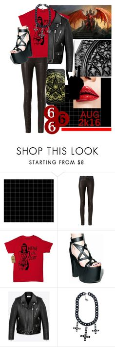 """""""666 followers???"""" by sydsydrox ❤ liked on Polyvore featuring rag & bone, Current Mood, Yves Saint Laurent, Kreepsville 666, Casetify, black, red and blackandred"""
