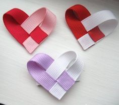 might be cute on Valentines - - - Heart hair bow! Made these for the girls for V day Ribbon Art, Ribbon Crafts, Ribbon Bows, Fabric Crafts, Hair Ribbons, Diy Hair Bows, Bow Hair Clips, Valentine Crafts, Valentines