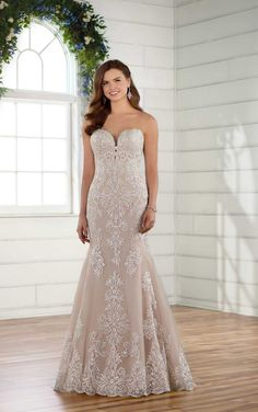 Lace wedding dress idea - fit-and-flare wedding dress with blush underlay- Style from Essense of Australia. See more wedding dress inspo on WeddingWire! dresses blush underlay Wedding Dress out of Essense of Australia - Designer Wedding Dresses, Bridal Dresses, Essence Of Australia Wedding Dress, Vintage Lace Weddings, Rustic Weddings, Plus Size Wedding Gowns, Essense Of Australia, Wedding Dress Pictures, Fit And Flare Wedding Dress