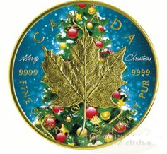 2016 Canada 1 OZ Silver 5 Maple Leaf Christmas colorized gold gilded Coin NEW Bullion Coins, Gold Bullion, Elizabeth Ii, Christmas 2016, Merry Christmas, Silver Maple Leaf, Canadian Coins, National Symbols, Coin Values