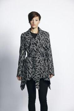 £70 Liquorish Grey And Black Animal Print Tie Up Jacket With Dip Hem | Liquorish Clothing www.liquorishonline.com