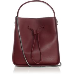 3.1 Phillip Lim Burgundy Bucket Drawstring Soleil Bag ($995) ❤ liked on Polyvore featuring bags, handbags, shoulder bags, leather handbags, burgundy leather handbag, evening handbags, genuine leather shoulder bag and red leather handbag