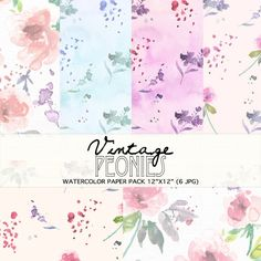 Watercolour Floral Clipart: Pink Peonies, Watercolour Clip Art/Flowers/Individual PNG files/Hand Painted-Vintage Peonies Paper Pack by SmallHouseBigPony on Etsy