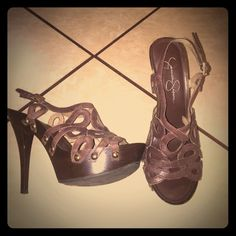 Jessica Simpson Brown sandal heels Previously loved does have small scuff nothing to noticeable great  (added a picture of it) Jessica Simpson Shoes Heels