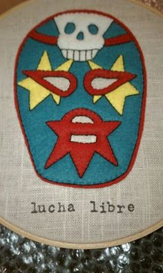 embroidery hoopla, lucha libre