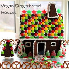 Vegan Gingerbread Houses with instructions on how to put it together!