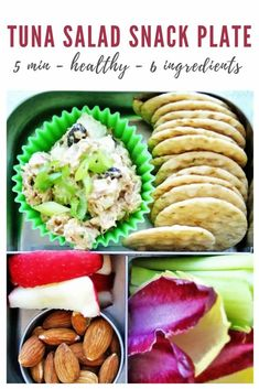 Take your lunch on-the-go with this classic and healthy tuna salad snack plate! This basic lunch has every component you need for an EASY, low-carb lunch that will keep you full until dinner. Prep in just 5 minutes with simple ingredients including celery, canned tuna, mayo, and onions. Check out the full recipe today! Healthy Meals For Kids, Healthy Dinner Recipes, Healthy Snacks, Snack Recipes, Best Tuna Salad, Healthy Tuna Salad, Tuna Mayo, Low Carb Lunch, Lunchbox Ideas