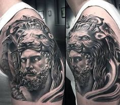 In classical mythology, Hercules is famous for his strength and for his numerous far-ranging adventures. Below, we are going to mention Hercules and lion tattoo ideas. Lion Head Tattoos, God Tattoos, Badass Tattoos, Tattoos For Guys, Tatoos, Full Sleeve Tattoo Design, Lion Tattoo Design, Tattoo Designs Men, Zues Tattoo