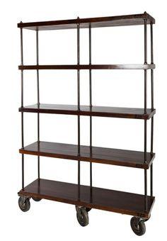 Industrial Wooden Shelves on castors