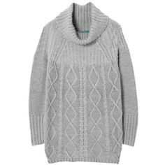 Light Gray Cable Knit Long Sweater (71 CAD) ❤ liked on Polyvore featuring tops, sweaters, long sweater tops, chunky cable sweater, light grey sweater, acrylic sweater and cableknit sweater