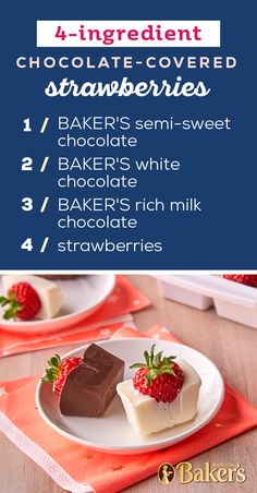 Easy Chocolate-Covered Strawberries – Ready for a fun and easy dessert recipe? Using just 4 ingredients you can put together your own chocolate-covered strawberries—perfect for date night at home! Candy Recipes, Baking Recipes, Dessert Recipes, Margarita Recipes, Smoothie Recipes, Easy Desserts, Delicious Desserts, Planning Menu, Bloody Mary Recipes