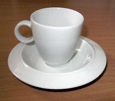 Alessi Bavero Porcelain Mocca Espresso Cup & Saucer By Achille Castigioni