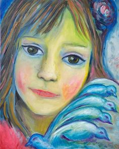 Girl with Flowers and Birds -  Portrait of a Girl - Giclee Art Print   SpiritArt - Reproduction on ArtFire