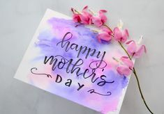 Quick & Easy Watercolor Mother's Day Card Get a watercolor background for your lettered cards and designs without using any paint! See how easy it is to do with this simple tutorial. Cute Canvas Paintings, Diy Canvas Art, Canvas Ideas, Small Canvas, Painting Canvas, Watercolor Canvas, Easy Watercolor, Watercolor Background, Canvas Background