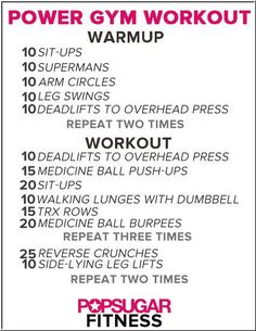 Do 10 minute cardio warm up This workout Then finish off with a little more cardio.