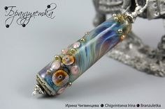 "Pendant ""Rainbow Wave"". Lampwork bead. Glass beads. Flowers and shining drops. Best gift by Branzuletka, via Flickr"