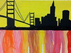 Skyline Canvas wax melt 11x14 by SpiltInk on Etsy, $25.00