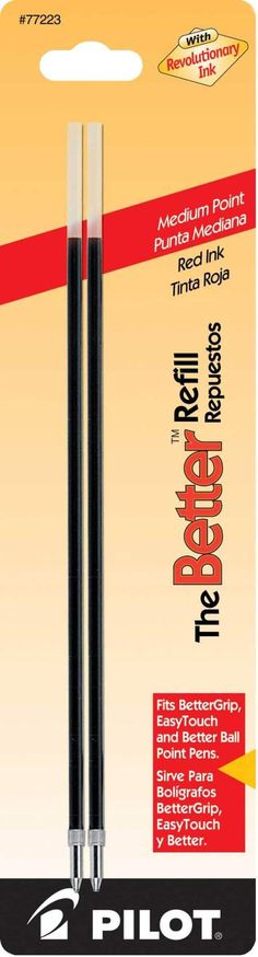 Pilot Ballpoint Better Refills - Red Ink - Medium Point - 2 Pack