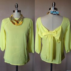 New bow back top - yellow Claudiasboutique.storeny.com Boutique Tops