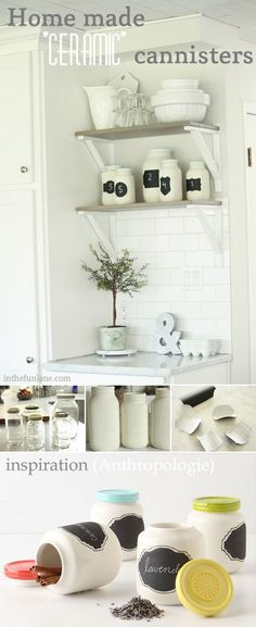 """MASON JARS :: Homemade """"Ceramic"""" Canisters Tutorial :: Made from painted jars (on the outside, so you can put food in 'em) that were found at a thrift store, but you could use pickle jars, sauce jars, etc"""