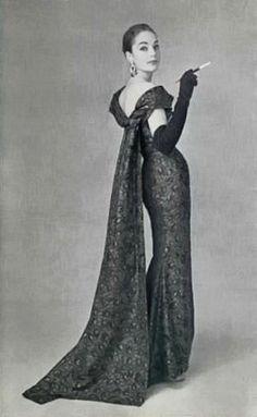 1956 evening dress Balmain    Photo by Philippe Pottier