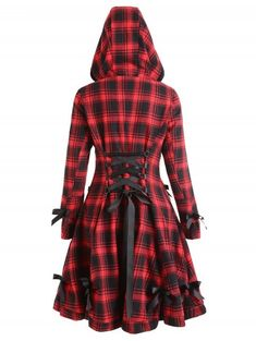 Plaid Button Up Hooded Skirted Coat fashion fashion outfits fashion trends fashion ideas fashion fal Plaid Fashion, Black Women Fashion, Gothic Fashion, Autumn Fashion, Fashion Outfits, Womens Fashion, Classy Fashion, Style Fashion, Fashion 2018