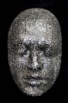 Masks and Heads Made from Moveable Type and Steel Hardware by Dale Dunning typography sculpture portraits Moveable Type, Sculpture Metal, Colossal Art, Contemporary Sculpture, Bronze, Art Moderne, Recycled Art, Installation Art, Amazing Art