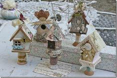 put bird houses on top of pretty candlesticks Home Crafts, Diy And Crafts, Arts And Crafts, Paper Crafts, Paper Art, Wooden Spool Crafts, Wooden Spools, Christmas Crafts, Christmas Decorations