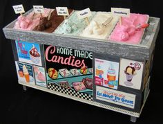12TH SCALE DOLL HOUSE ICE CREAM COUNTER. £59.00, via Etsy. OH! Love the signs plastering it!