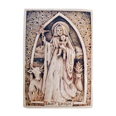 """Saint Brigid Plaque --This handcrafted plaque measures 7"""" x 10"""" and is made of cast stone."""