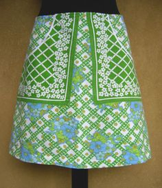 Green White and Blue skirt A-line skirt cotton skirt