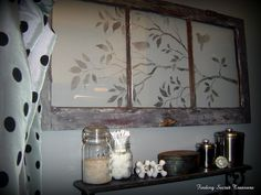 Finding Secret Treasure: Cutting Edge Stencil-Room with a View Vintage Windows, Old Windows, Windows And Doors, Antique Windows, Old Shutters, Repurposed Shutters, Repurposed Furniture, Window Frames, Window Art