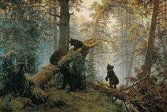 Morning in a Pine Forest by Ivan Shishkin (1886). I have always been fond of Russian painters, especially when they paint amazing scenes like this.